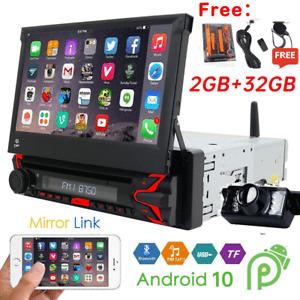 "Single 1DIN 7""Android 10.0 DVD Flip Up GPS Navigation Car Stereo Radio CD Player"