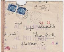 STORIA POSTALE - 1943 REGNO L.1,25 X 2 SU RACCOMANDATA ROMA 22/3 B/9377
