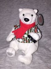 Coca-Cola Polar Bear In Striped Shirt with Bowtie Includes Collectible Tag #0209