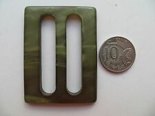 1950s Vintage Med Rectangle Moonglow Olive Green Ladies Belt Buckle-6.2 x 4.7cm