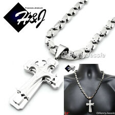 "24""MEN Stainless Steel 8mm Silver Interlock Bone Chain Necklace Cross Pendant*H1"