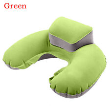 Hot Travel Inflatable Neck Air Pillow Blue Flocking U-shape Blow up Cushion 1pcs Green