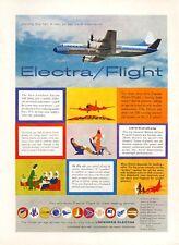 1958 Lockheed PRINT AD Electra Prop Plane Wonderful Colorful Vintage Ad