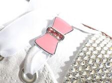 Par De Rosa Y Cristal Arco encantos del zapato & 120 Blanco Cordones Cordones de Cinta de Raso
