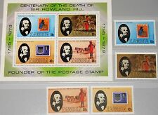 ZAMBIA SAMBIA 1979 213-16 Block 6 204-07a Stamp on Stamp R. Hill Post MNH