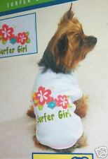 Dog Shirt SURFER Girl Jersey Tee Shirt Large White Flowers Casual Canine New
