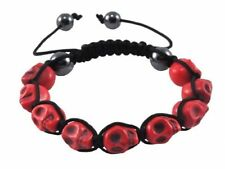 Shamballa RED SKULL Howlite  /Hematite Beaded Bracelet Punk Goth DAY OF THE DEAD