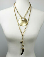 Chicos hammered matte gold-tone 2-in-1 necklace statement pendant and charms