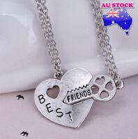 BFF 2PCS Set Best Friend Friendship Heart Key Silver Cord pendant Necklace