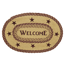 BURGUNDY TAN JUTE RUG OVAL WELCOME 20X30 Stencil Star Country Primitive Rustic