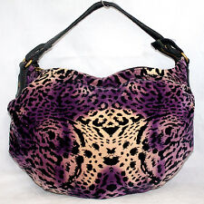LUCKY BRAND Purple Gold Velvet Leopard Print Hobo Shoulder Bag