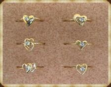 SET of 6 GOLD FILLED RINGS - CHILDREN'S SIZES. AUSTRIAN CRYSTAL on a HEART MOTIF