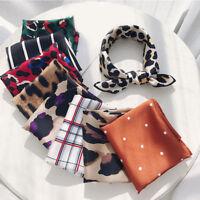 Hot Women's Elegant Square Silk Feel Satin Scarf Skinny Head Neck Hair Tie Band