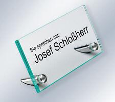 Floatglas Namensschild Werbeaufsteller Hinweisschild für Empfang, Edelstahl