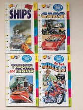 4 Fun Fax Books  SHIPS/CARS/TWO WHEELS/TRUCKS and TRAINS, Facts