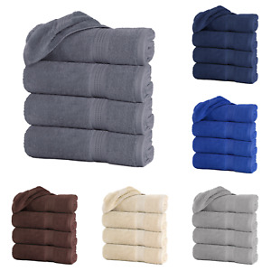 "Large Bath Towel Sheets Sets Packs 100% Cotton 27""x55"" 500 GSM Highly Absorbent"