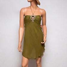NWT Ingwa Melero Green Chiffon Mini Dress 08 SHM Small