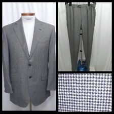 PAL ZILERI Wool Micro Houndstooth Two Button Suit Size EU 50 US 40 Long white