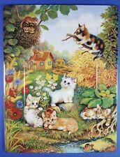 ANNABURG - JURGEN SCHOLZ - CAT KITTENS COLLECTORS PLATE / TILE - JOYFUL HARVEST