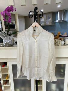 BNWOT Shanghai Tang Cream Silk Classic Shirt US 2/ AU 6 / XS/S
