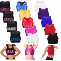 Kids Girls Crop Top Basic Dance Bra Tops Sport Gym Workout Performing Tanks Tops