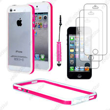 Housse Coque Etui Bumper Rose / Blanc Apple iPhone SE 5S 5+Mini Stylet+3 Films