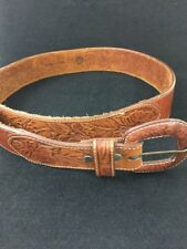 BANANA REPUBLIC Belt Women Brown Leather Size 30 Hand Tooled LR