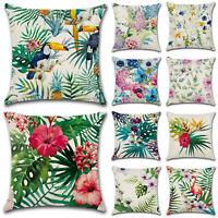 """Tropical Flower Home Decor Cotton Linen Pillow Case Sofa Throw Cushion Cover 18"""""""