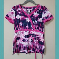 Koi Kathryn Women's Floral Print Scrub Top | Size XS | Waist Tie | 100% Cotton
