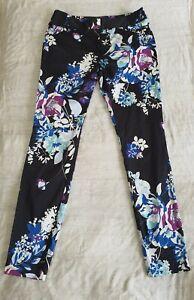 CUE 96% COTTON Blend Floral Printed Slim-Leg Pants, Size 10 Barely Worn Career