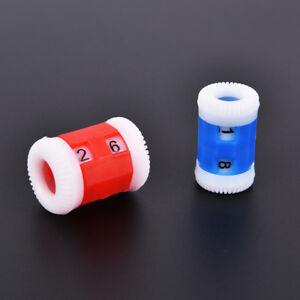 2pcs plastic knitting needles counter weaving tools number marker red&blue BDAU