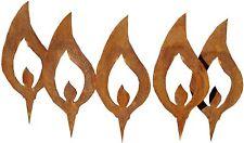 5er Set Flamme Flammen Stecker Edelrost Rost Metall Gartendeko Weihnachtsdeko
