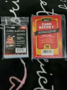 New ( 50 ) Ct Card Saver 1 Cardboard Gold / 100 Ultra Pro Sleeves PSA / BGS