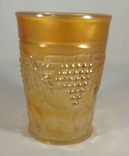 "1900's Northwood Marked Carnival Glass Grape & Cable Tumbler Marigold 4"" Tall"