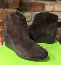 Crocs Womens Leigh Suede Wedge Bootie size 7 Espresso NEW