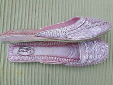 PINK  LADIES INDIAN LEATHER BACKLESS/SLIPPER/WEDDING MULES SIZE 3