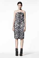 CHRISTOPHER KANE $3176 jaguar goatskin fur strapless leather bustier dress 8 NEW