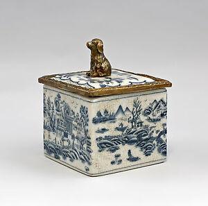 9937873-dss Dose Deckeldose quadratisch Blaudekor Keramik/Bronze 13x10x12cm