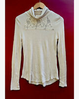 Anthropologie Top Medium Eloise Lace Turtleneck Beige Long Sleeve Shirt Ribbed