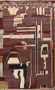 Abstract Modern Moroccan Berber Oriental Area Rug Hand-knotted Plush Wool 10x14