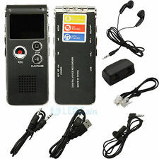 New Portable 8GB Digital Voice Recorder 650Hr Dictaphone MP3 Player Black USA