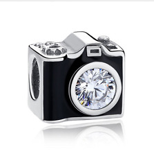 2pcs Silver Camera European Charm Crystal Spacer Beads Fit Necklace Bracelet ~~