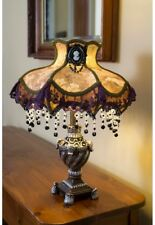 """Victorian Style Table Lamp ~ Laced and Beaded Shade w/Cameo Brooch ~ 22"""" H"""