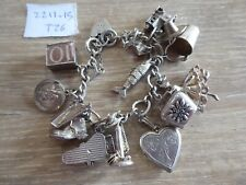 BEAUTIFUL VINTAGE SOLID SILVER CHARM BRACELET WITH 15 CHARMS