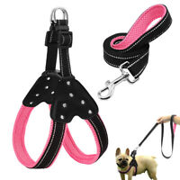 Reflective Step In Dog Harness & Leash Set Soft Padded Crystal Dog Haness S M L
