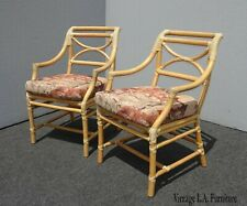 Pair of Vintage McGuire Mid Century Bamboo Side Chairs w Rose Floral Fabric
