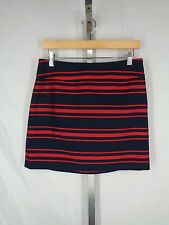 Ann Taylor Loft Petites Skirt 4P 4 Petite Red Blue Stripe New