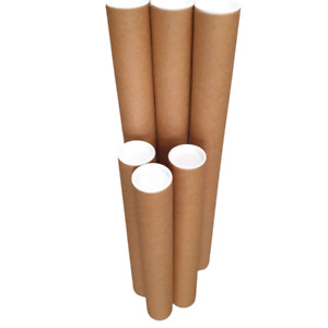 1x High Quality Mailing Tubes 660x60x1.8mm Brown with White Caps