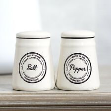 off-White Ceramic Salt & Pepper Pots Small Condiment Shakers Mills Vintage Set