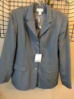 Lands End Women's Size 14 Blue Blazer Jacket New VTG